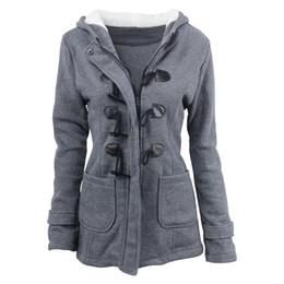 2020 casaco de botão de chifre de mulher algodão mulheres Coats Jacket com capuz casaco de inverno quente Plus Size Thicken Básico Tops Médio botão da buzina comprimento Exteriores Casaco Feminino desconto casaco de botão de chifre de mulher