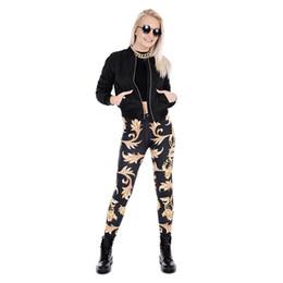золотые кольца для гимнастики Скидка Девушки леггинсы золотой орнамент 3D цифровой полный печати эластичный пояс карандаш подходят женщины тренировки йога брюки Леди фитнес тренажерный зал брюки (Y43464)