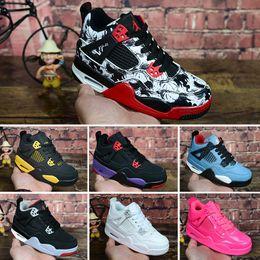 Chaussures bon marché pour les enfants livraison gratuite en Ligne-Nike air jordan 4 retro Vente en gros de nouveaux enfants Confetti chaussures pas cher Top Qualité Irving 4 hommes femmes chaussures de basket-ball livraison gratuite taille