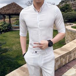 Listras brancas do preto dos homens camisas ocasionais on-line-White Stripe Camisas Dos Homens Vestido Clube Social Camisas Para Hombre Camisas Dos Homens Casual Slim Fit Erkek Gomlek Modas Pretas