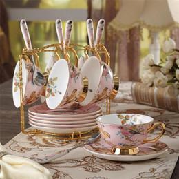 té de pájaro Rebajas Pastoral Bird China de hueso taza de té platillo cuchara conjunto de Europa taza de porcelana taza 200ml bandeja Cafe Partido Vaso Vaso