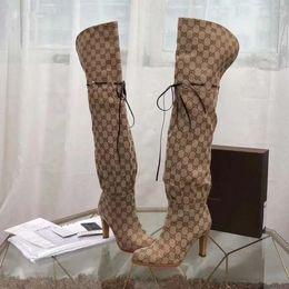 2019 botas sobre la rodilla marcas Botas de cuero de marca para mujer Botas sobre la rodilla Diseñador Dama Lona Gaiter Botas de tacón alto Botas de tacón alto Botas altas botas sobre la rodilla marcas baratos