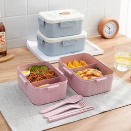 fibra fresca Desconto Selado Fresh Lunch Box Fibra De Trigo Ambientalmente Amigável Portátil Compartimento Lancheira Forno de Microondas Fivela de Almoço Caixas de Almoço