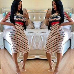 Fandi marca de impresión midi dress verano mujer casual moda carta impreso cuello redondo manga corta vestido de fiesta de la calle delgado blanco desde fabricantes