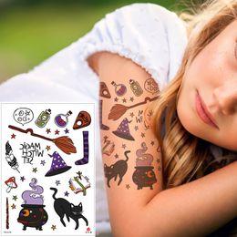 Argentina Halloween pequeño gato negro tatuaje temporal pegatina escoba psíquica calabaza cuerpo arte calcomanía diseños para hombre mujer brazo cuello manos muñeca tatuajes Suministro