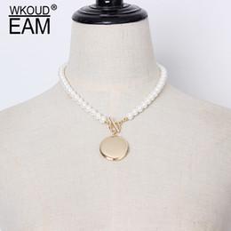 1e2877a2bf42 collares Rebajas WKOUD EAM 2019 Nueva Primavera Verano Metal Círculo  Dividir Conjunto de perlas Collar Personalidad