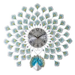 Orologio da parete decorativo grande online-Bella grande pavone creativo soggiorno orologio da parete orologio muto europeo moderno casa moda decorativo quarzo vendita calda