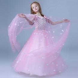 2019 vestido branco rosa flores criança 2019 rosa / branco vestido da menina de flor para casamentos vestido de primeira comunhão para o bebê menina vestido de baile tule vestido de criança pageant vestido branco rosa flores criança barato