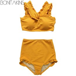 korean bikini swimwear Coupons - Bonitakinis 2019 Korean version High Waist Bikini Set Solid Orange Swimsuit Women Young Lady Sweet Swimwear biquini