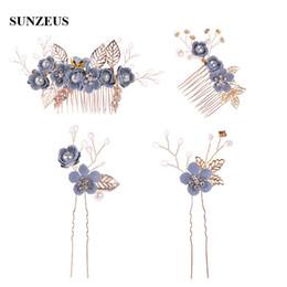 Canada Fleurs bleues peigne à cheveux de mariée feuilles d'or épingles à cheveux de mariage de la mode de la mode des vêtements adornos para el cabello SQ370 supplier blue flower hairpins Offre