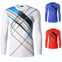 blue badminton t shirts Coupons - Men Full Sleeve Tennis T Shirt , O-neck Quick Dry Badminton men, Male Tennis clothing, Breathable Badminton Clothes Custom Name