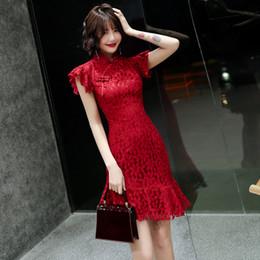 vestido formal mandarin Desconto 2019 vestido chinês qipao estilo vintage das mulheres sexy lace formal cheongsam vermelho casamento mandarin colarinho qipao vestido de rabo de peixe