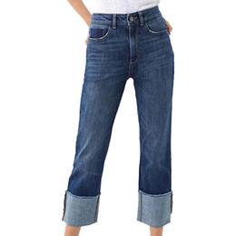 Caviglia elastica jeans online-Jeans Denim Casual Solid Jeans a vita alta Stretch coulisse dritta Pantaloni elastici alla caviglia Pantaloni streetwear da donna