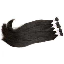 cheveux humains raides pour tresses Promotion Brésiliens indonésiens péruviens malaisiens extensions de cheveux tressés en vrac 3/4/5 faisceaux naturel brut droite cheveux en vrac micro tresse sur la tête