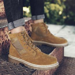 botas estilo britânico homens Desconto Estilo britânico dos homens Sapatos Casuais High-Top Mens Botas de Outono Inverno Quente Não-Slip Resistente Ao Desgaste Tooling Botas Lace Up Sapatos