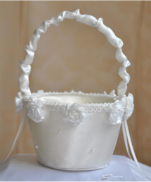 white roses wedding basket Promo Codes - Vintage Satin Wedding Ceremony Party Love Case Handmade Rose Flower Baskets For Women Girl Wedding Petal Storage Bag Container
