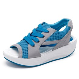 malla de encaje hasta zapato de playa Rebajas = BIGTREE Verano sandalias de las mujeres de malla ocasional transpirable zapatos de las señoras de las mujeres sandalias con cordones de plataforma sandalias zapatos de playa # 10044