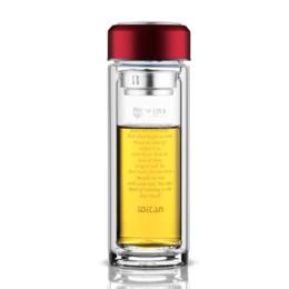 Botella de agua de cristal Borosilicate de regalo masculino, de vidrio de doble capa, botella de agua de cristal transparente de doble capa, utensilios de cocina desde fabricantes