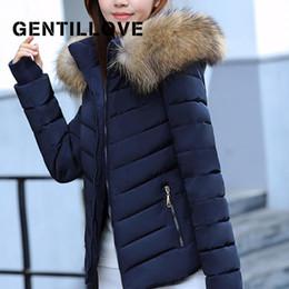 Guanto sottile online-Gentillove Womens Parka guanti caldi staccabile collo di pelliccia cappotto femminile invernale Slim Fit rivestimenti Outwear Casual Solid Parkas 2019