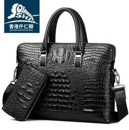 crocodilo em relevo couro bolsas Desconto Saco de marca por atacado de alta qualidade crocodilo em relevo bolsa de couro homens de negócios moda em relevo couro moda bolsa de ombro de couro