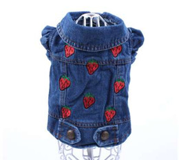 Pet Dog Cat Jeans Chaqueta Strawberrys Blue Denim Abrigo Chaleco Pet Puppy Ropa Ropa 6 tamaños desde fabricantes
