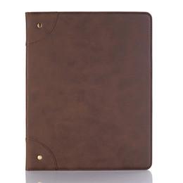 estilos del libro caso de ipad Rebajas Estilo retro del libro de cuero duradero para Ipad Mini cubierta con bolsillo para tarjeta con soporte y doblez para Ipad Air Bumper Cushion funda protectora