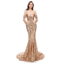 sequin tube Coupons - 2019 Sexy Prom Dresses Bateau Collar Tube Top Sequins Mermaid Tailing Evening Dresses Party Dresses