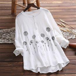 2019 botones de estilo japonés 2019 Mujeres de moda de verano con botones OL Blusa Camisa de estilo japonés de manga larga Estampado de flores Tops Plus Size botones de estilo japonés baratos