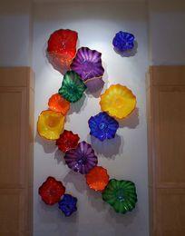 decorativo lastre di vetro d'arte Sconti Decorativi del Ministero degli soffiato Wall Plates lastra di vetro della decorazione del fiore di arte della parete lampade in vetro di Murano per Wall soffitto Deco