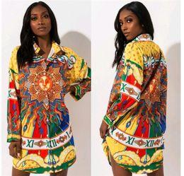designer vestido de camisa de impressão floral Desconto Mulheres sol impresso camisa Designer Vestidos Primavera Outono New Single Breasted Vestidos