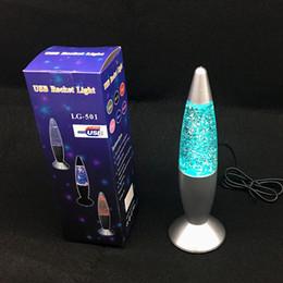 3D Rocket Night Multi colore che cambia lampada lava RGB LED Glitter Party Mood Night Light Regalo di Natale Comodino Lampada da notte Luci natalizie da