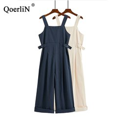 korean style jumpsuits Coupons - QoerliN Solid Overalls Women Summer Fashion Sleeveless Female Wide Leg Ankle-Length High Waist Jumpsuits Female Korean Style New