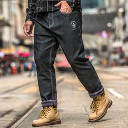 ff809f5bfac 2019 Big Size 30-48 Man Jeans High Stretch Straight Long Slim Trousers  Fashion Casual Black Denim Male Business Plus Velvet Pant