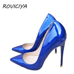 d7a95894712 Blue Sexy Women High Heels Shoes Stiletto 12 cm Pumps Blue Pointed Toe  Woman Shoes Party Plus Size 34-44 QP044 ROVICIYA