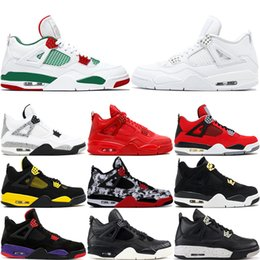motor pack Promo Codes - 4 Men Basketball Shoes Hot Punch Lightning Tattoo Fear Pack Fire Red Motor Sport Oreo 4S Athletic Designer Sports Sneakers US 8-13