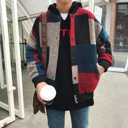 korean mens jackets Promo Codes - Autumn Men Harajuku Plaid Bomber Jackets Mens Japanese Streetwear Windbreaker Korean Fashions Baseball Jackets For Male