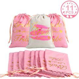 Docce di rosa online-11pcs Bridal Shower Favor Bag Regali per gli ospiti Bachelorette Party Kit postumi di una sbornia Borse Damigella d'onore Regalo postumi di una sbornia Decorazioni di nozze