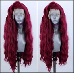 pelucas de moda new wave Rebajas Nuevo estilo de moda peluca de terciopelo rojo ola suelta brasileña pelucas delanteras llenas del cordón para las mujeres peluca sintética resistente al calor fibra Cosplay peluca