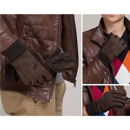Новая Мода Классический Открытый Мужчины Зимние Теплые Мотоциклетные Перчатки Черный Коричневый Роуэн Свинья Кожаные Перчатки Варежки Для Мужчин от