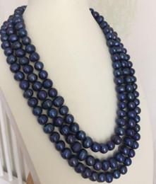 colliers à trois rangs de perles noires Promotion collier de perles bleues et baroques de Tahiti avec triples brins de 9-10mm 18