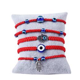 türkische augenschmuck Rabatt Handgewebtes Armband Glücksarmband Kabbalah Red String Thread Hamsa Armbänder blau türkischen bösen Blick Charme Schmuck Fatima Freundschaftsarmband