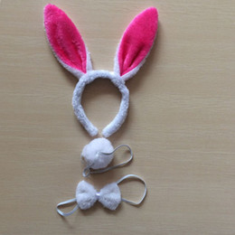 кролик уши заставку розовый Скидка 1sat =3pcs Children adult Bunny Ear Headband Set Black pink white blue Fancy Dress Costume Hen Party big Rabbit ear hairbands he