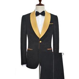 abendkleider rotwein silber Rabatt Bräutigam Smoking Anzug Schwarz Hochzeitsanzug für Männer 2 Stücke Jacke + Hosen Benutzerdefinierte Party Groomsman Best Man Suit