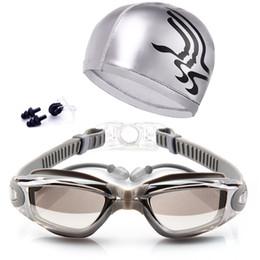 Tapones para los oídos para nadar online-Gafas de natación + Clip para la nariz + Tapones para los oídos Gafas de natación Sin fugas Protección contra rayos UV, UV Triatlón Suministro de natación