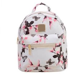 lindas mochilas pequeñas para mujeres Rebajas Nuevas mujeres flor de mariposa pequeña mochila impresa PU cuero señora moda mochilas de viaje lindo WML99