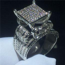 Conjuntos de bandas de boda online-Majestic Sensation ring 925 Sterling silver pave setting Diamond Cz Engagement anillos de la boda para mujeres hombres Joyería