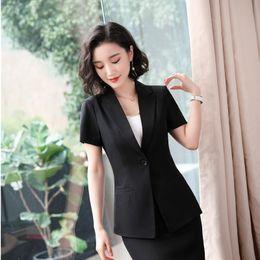 efbb57d7a0a0 Para mujer Oficina de verano de manga corta formal profesional Blazers y  chaquetas Abrigo para mujeres Ropa de trabajo de negocios Outwear femenino  Tops ...