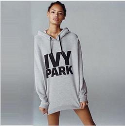 Wholesale IVY PARK Letter Print Женщины Толстовки Кофты с длинными рукавами Корейский платье с капюшоном Плюс Размер Осень Свободные пуловеры женский