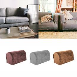 2019 sofá cubierta de tela de terciopelo 4Pcs Terciopelo Estiramiento Pila Brazo Cubiertas de tela Protector de muebles Sofá Decoración sofá cubierta de tela de terciopelo baratos