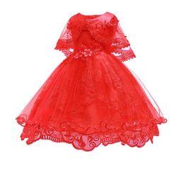 Schal für rotes kleid online-Neuankömmling spitze kleider für kinder rote schals stil perlen blume mesh dress 3-10 babykleidung